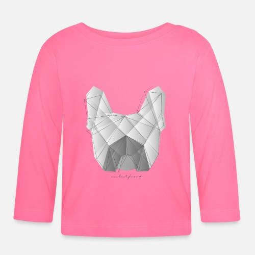 Geometric Frenchie white - Baby Langarmshirt