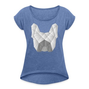 Geometric Frenchie white - Frauen T-Shirt mit gerollten Ärmeln