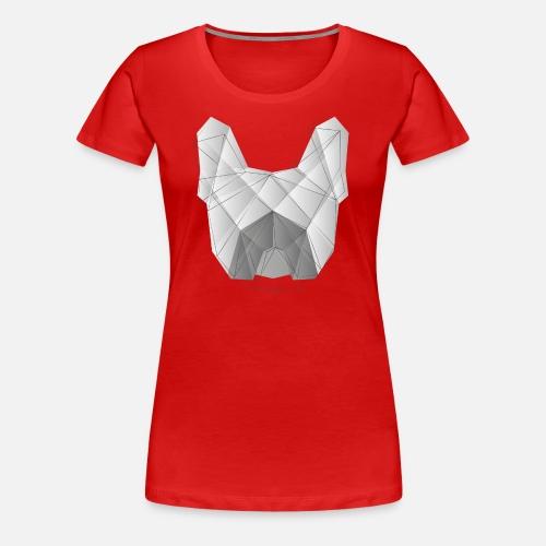Geometric Frenchie white - Frauen Premium T-Shirt