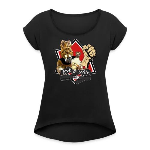 Frauen 2018 mit U Ausschnitt - Frauen T-Shirt mit gerollten Ärmeln