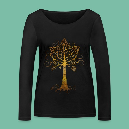 T-shirt bio manches longues arbre phare doré - T-shirt manches longues bio Stanley & Stella Femme