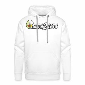 Hoodie blanc EatFat2BeFit avant et dos - Sweat-shirt à capuche Premium pour hommes