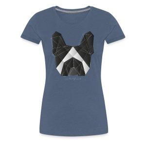 Geometric Frenchie black white - Frauen Premium T-Shirt