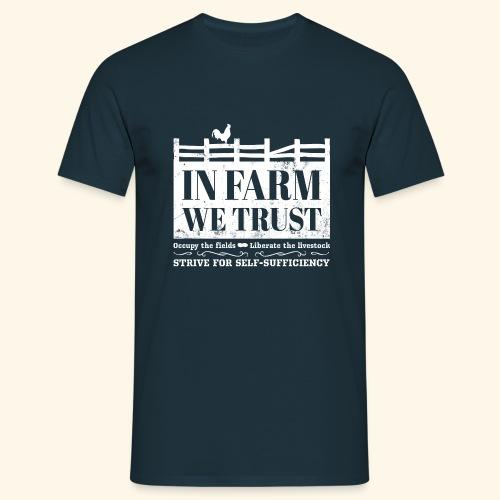 In Farm We Trust: Self-Sufficiency - Logo Weiß - Männer T-Shirt