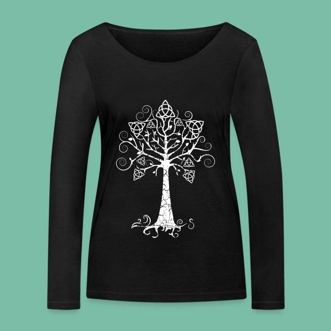 T-shirt coton bio  femme manches Longue arbre phare blanc