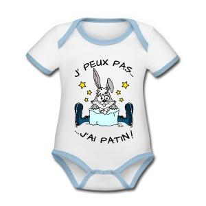 Body Bébé Lapin, J' Peux pas, J'ai Patin (à glace) - Body Bébé bio contrasté manches courtes