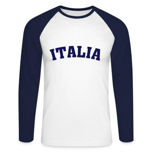 Raglan Bleu/Blanc Manches Longues Italia - T-shirt baseball manches longues Homme