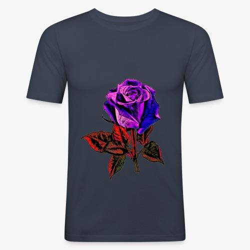 Rose bleue ,rouge, rose  - T-shirt près du corps Homme