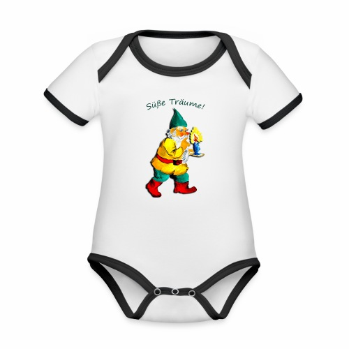 Body für Babys mit dem Traumzwerg - Baby Bio-Kurzarm-Kontrastbody