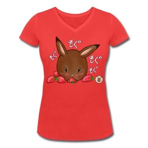 Dames shirt: Mama Rond Konijn - Aardbei - Vrouwen bio T-shirt met V-hals van Stanley & Stella