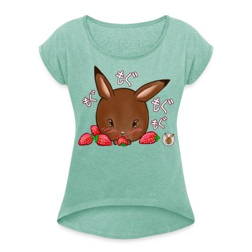 Dames shirt: Mama Rond Konijn - Aardbei - Vrouwen T-shirt met opgerolde mouwen