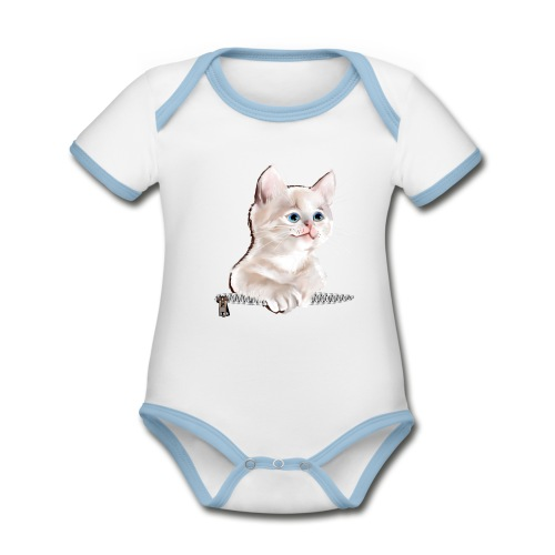 Sweet Pocket Kitten - Organic Baby Contrasting Bodysuit