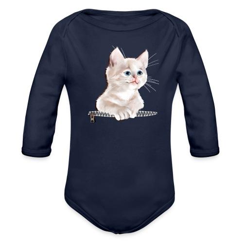 Sweet Pocket Kitten - Organic Longsleeve Baby Bodysuit