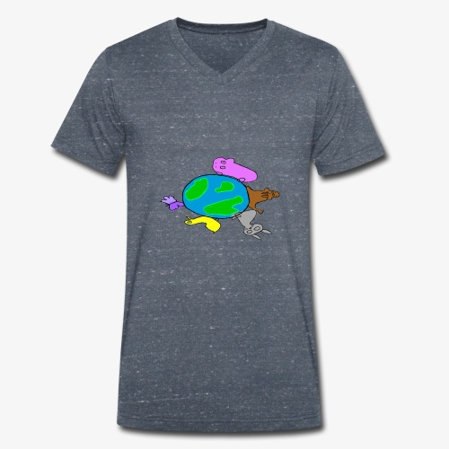 Animales chidos  - Camiseta ecológica hombre con cuello de pico de Stanley & Stella