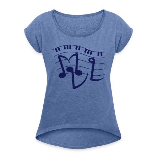 Damen-T-Shirt mit gerollten Ärmeln - Frauen T-Shirt mit gerollten Ärmeln