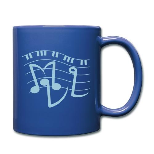 Tasse blau - Vorderseite neues Logo - Rückseite altbekannter Schriftzug - Tasse einfarbig