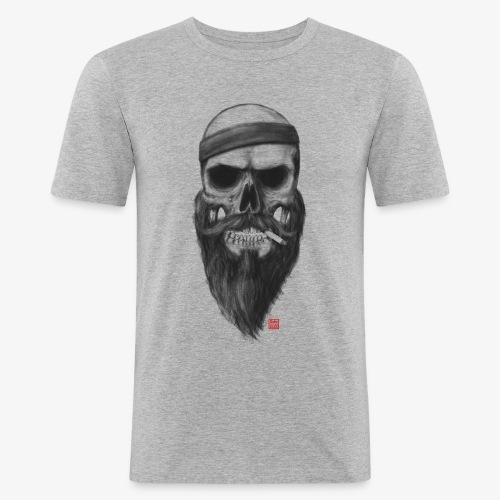 Skull with a 80s Headband - Boy - Männer Slim Fit T-Shirt