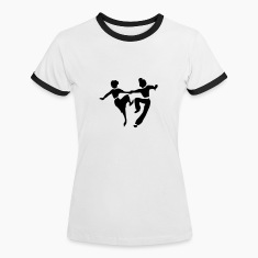 White/black retro dance jive by Patjila Women's T-Shirts