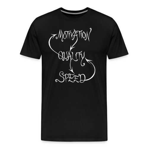 Motivation, Quality, Speed, men's white print - Premium-T-shirt herr