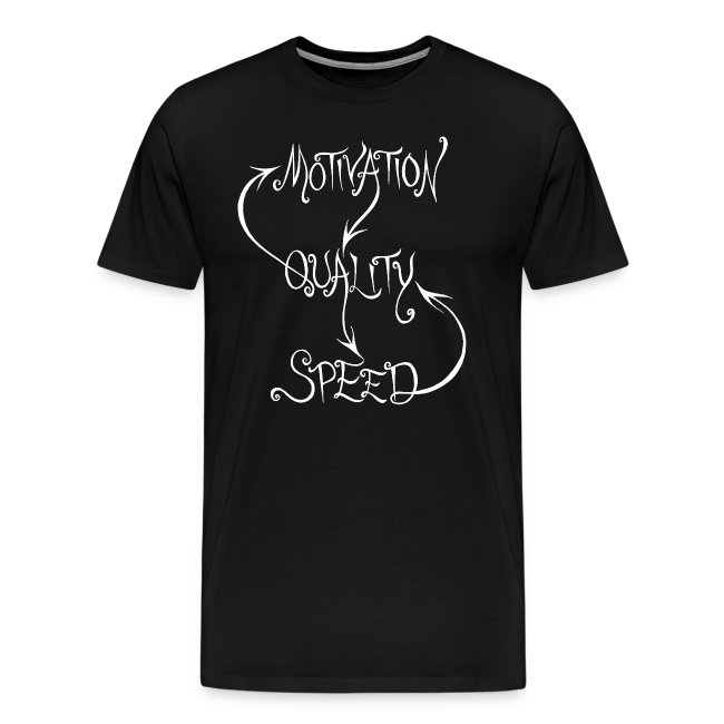 Motivation, Quality, Speed, men's white print