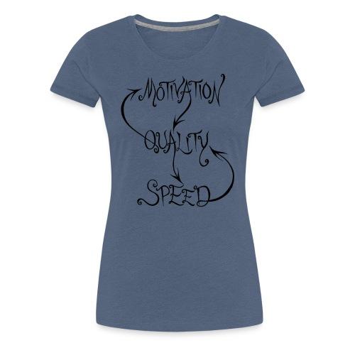 Motivation, Quality, Speed, woman's black print - Premium-T-shirt dam