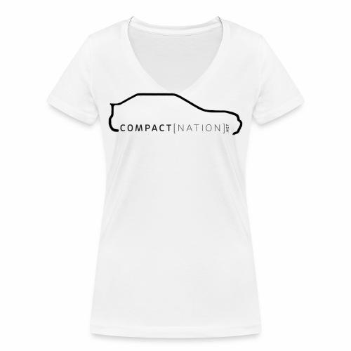 Girl Shirt Silhouette Rear Front Black - Frauen Bio-T-Shirt mit V-Ausschnitt von Stanley & Stella