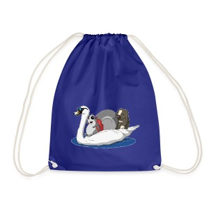 The Pudgy Squirrel and the Swan - Drawstring Bag