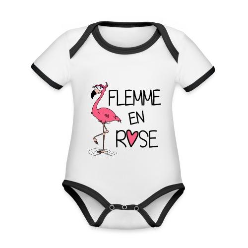 Body mc Bébé Flamant Rose / Flemme en Rose  - Body Bébé bio contrasté manches courtes