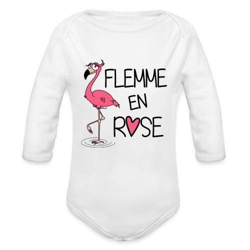 Body ml Bébé Flamant Rose / Flemme en Rose  - Body bébé bio manches longues