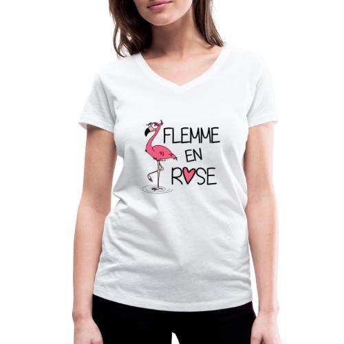 T-shirt Bio col V Flamant Rose / Flemme en Rose  - T-shirt bio col V Stanley & Stella Femme