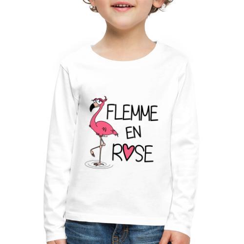 T-shirt ml Enfant Flamant Rose / Flemme en Rose  - T-shirt manches longues Premium Enfant