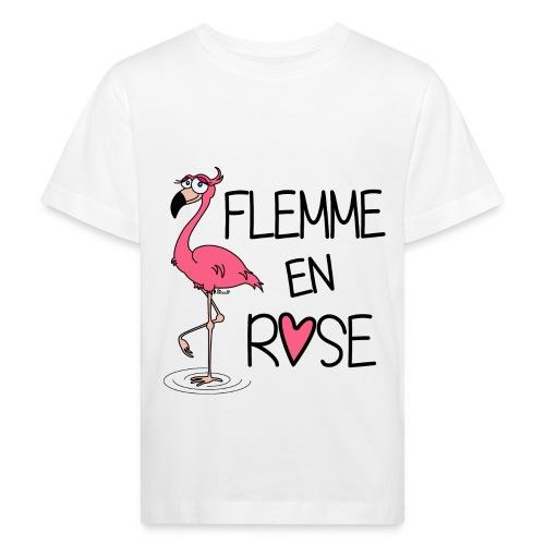 T-shirt Bio Enfant Flamant Rose / Flemme en Rose  - T-shirt bio Enfant