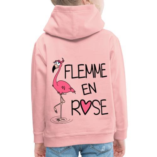 Pull Enfant Flamant Rose / Flemme en Rose  - Pull à capuche Premium Enfant
