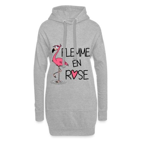 Sweat-shirt long Flamant Rose / Flemme en Rose  - Sweat-shirt à capuche long Femme