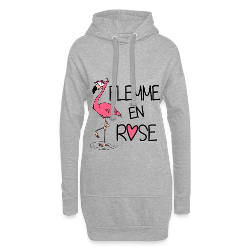 Sweat-shirt long Flamant Rose / Flemme en Rose  - Sweat-shirt à capuche long Femme