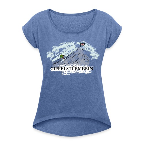 Frauen T-Shirt: Gipfelstürmerin - Frauen T-Shirt mit gerollten Ärmeln