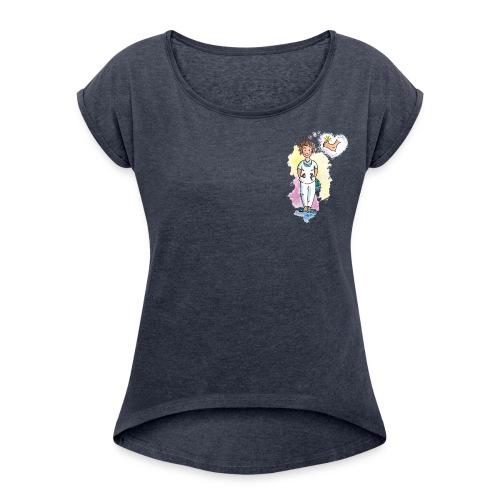 T-Shirt mit Fußpflegerin  - Frauen T-Shirt mit gerollten Ärmeln