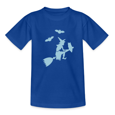 Navy Besenflug der Hexe / witch on her broomstick (1c) Kids' Shirts