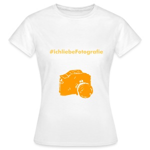 Frauen T-shirt weiß/orange - Frauen T-Shirt