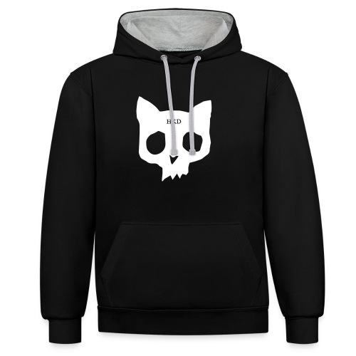 Cat Skull black duo front - Contrast Colour Hoodie