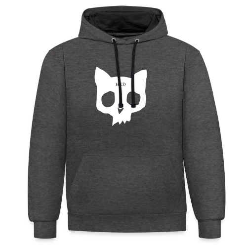 Cat Skull grey duo front - Contrast Colour Hoodie