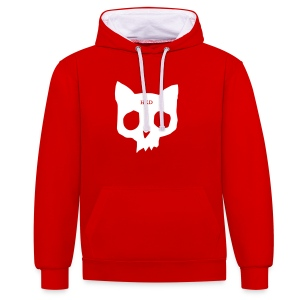 Cat Skull red duo front - Contrast Colour Hoodie