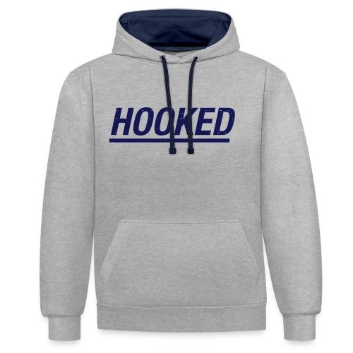 Underline logo hood grey duo navy - Contrast Colour Hoodie