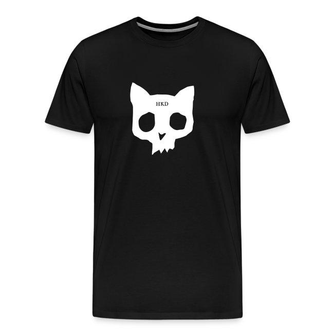 Cat Skull white on black