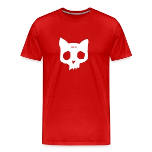 Cat Skull white on red - Men's Premium T-Shirt