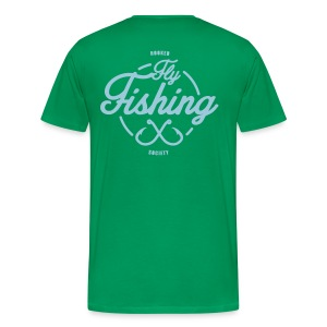 Fishing blue on green - Men's Premium T-Shirt