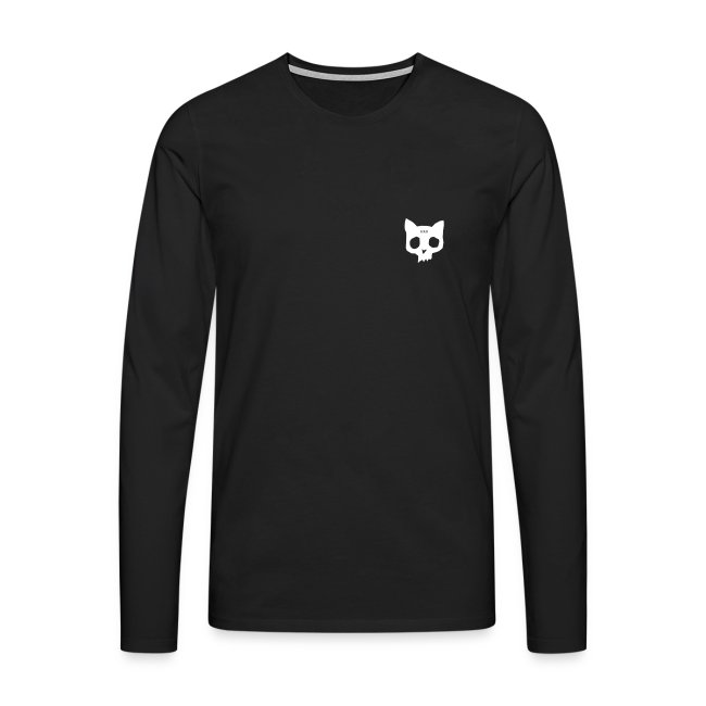 Cat skull long sleeve white on black