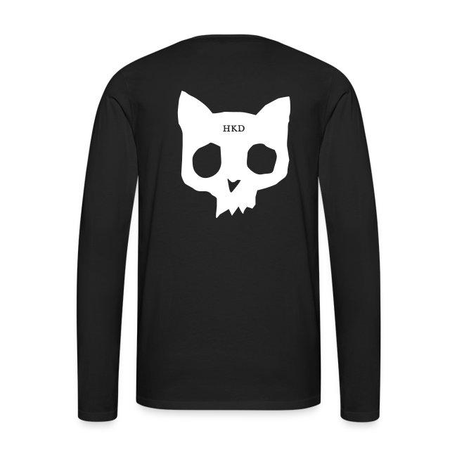 Cat skull long sleeve white on black