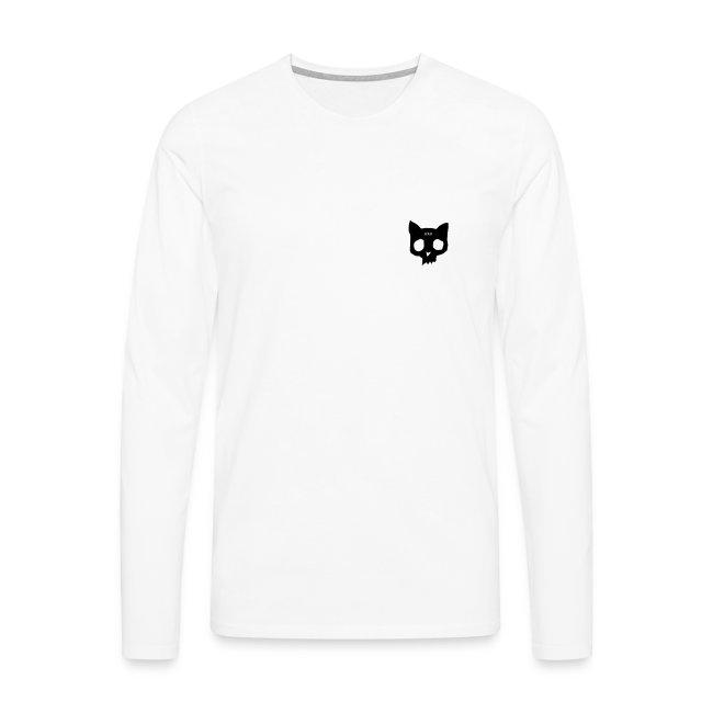 Cat skull long sleeve black on white