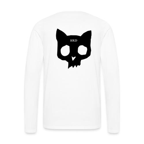 Cat skull long sleeve black on white - Men's Premium Longsleeve Shirt